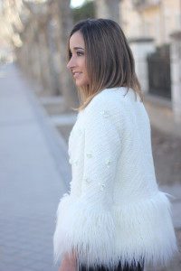 white faux fur coat15