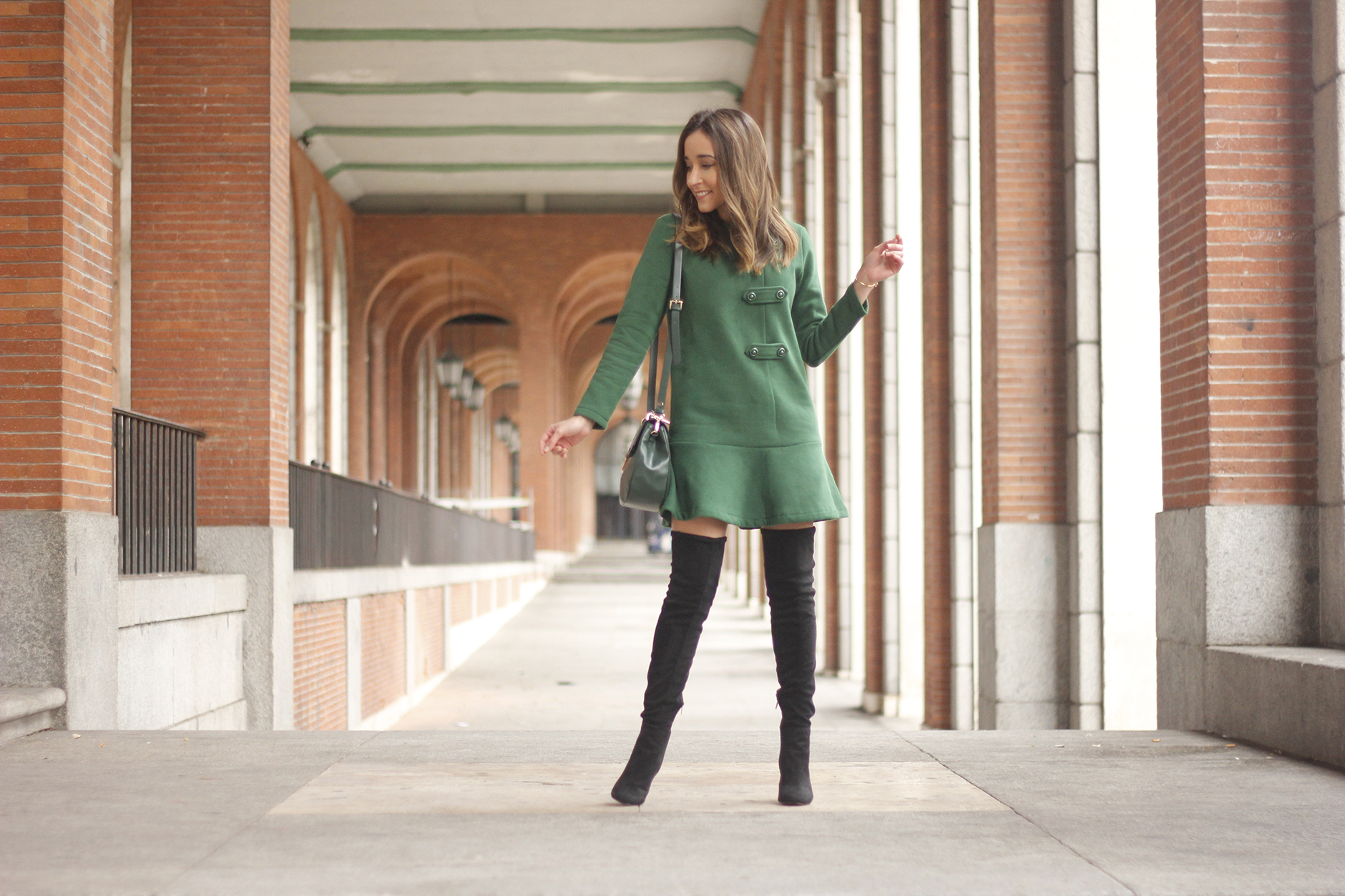 Green Dress Over the knee boots mango outfit sunnies accessories bag01
