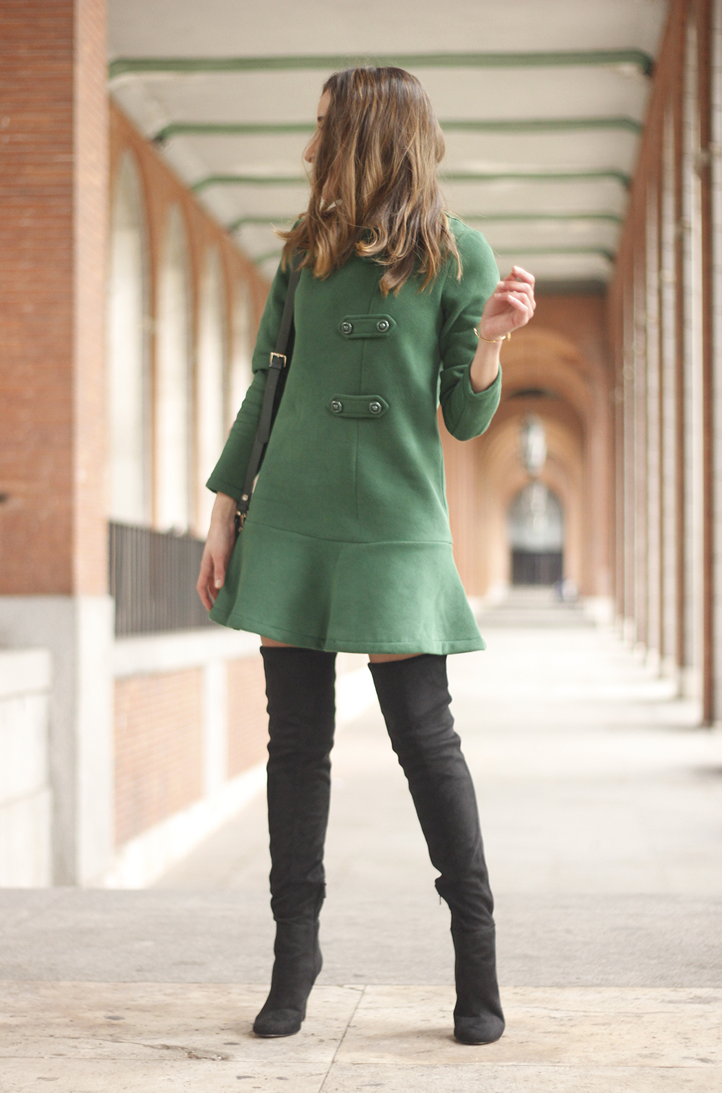 Green Dress Over the knee boots mango outfit sunnies accessories bag06