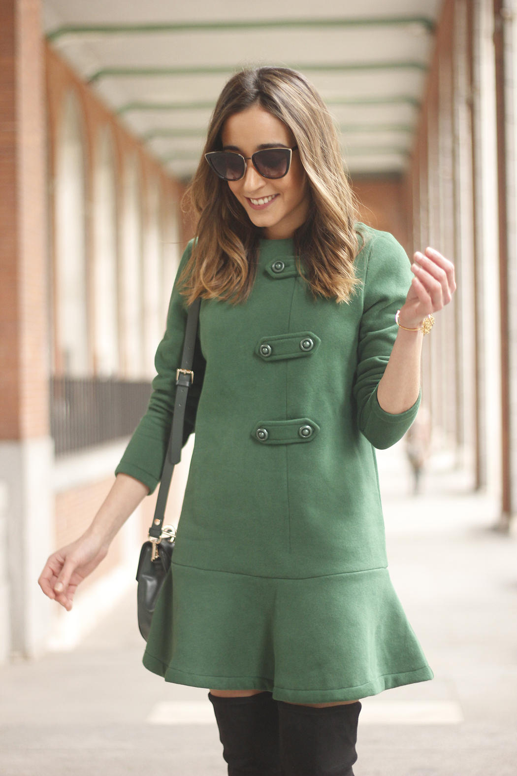 Green Dress Over the knee boots mango outfit sunnies accessories bag10