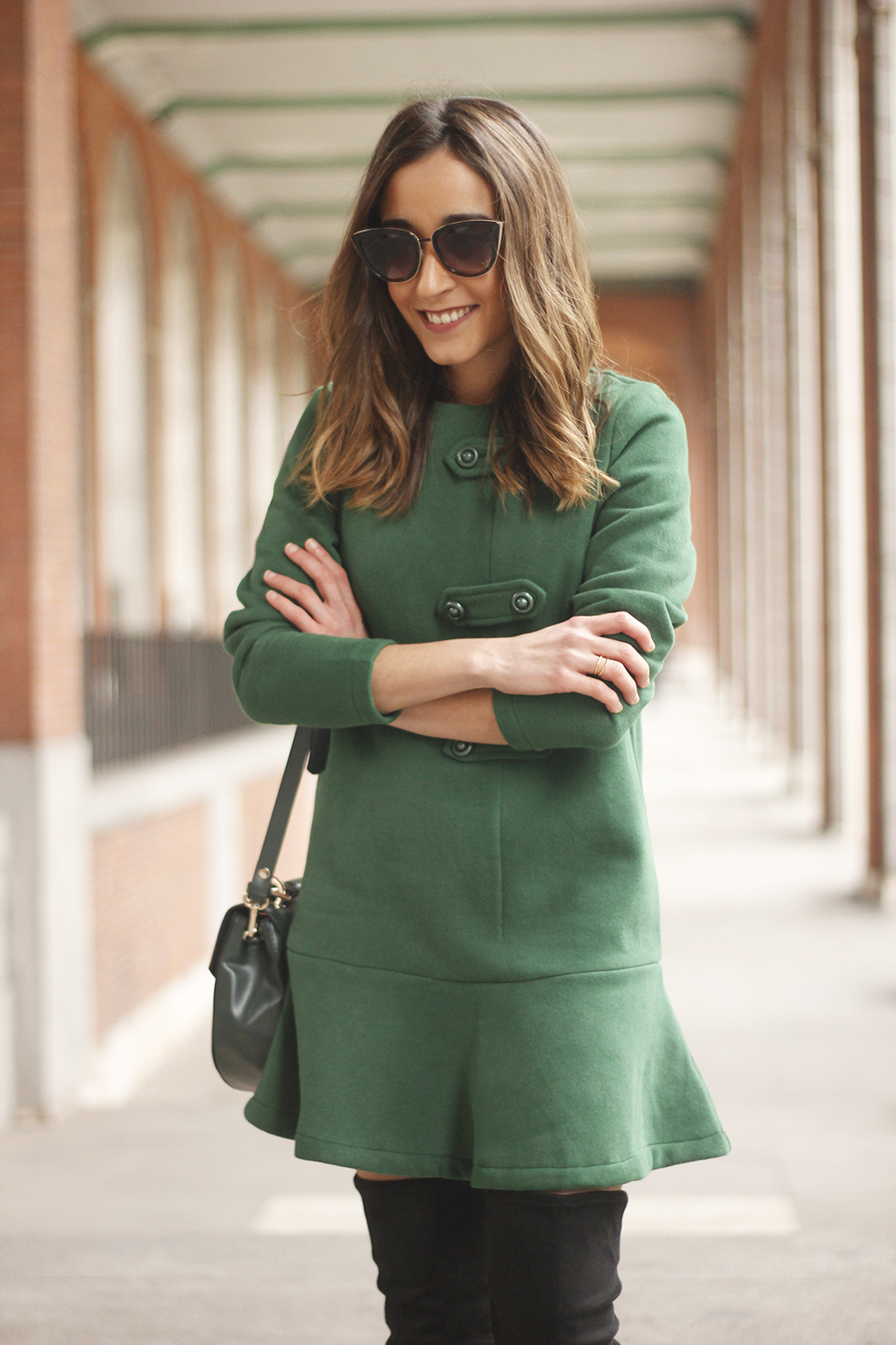 Green Dress Over the knee boots mango outfit sunnies accessories bag13
