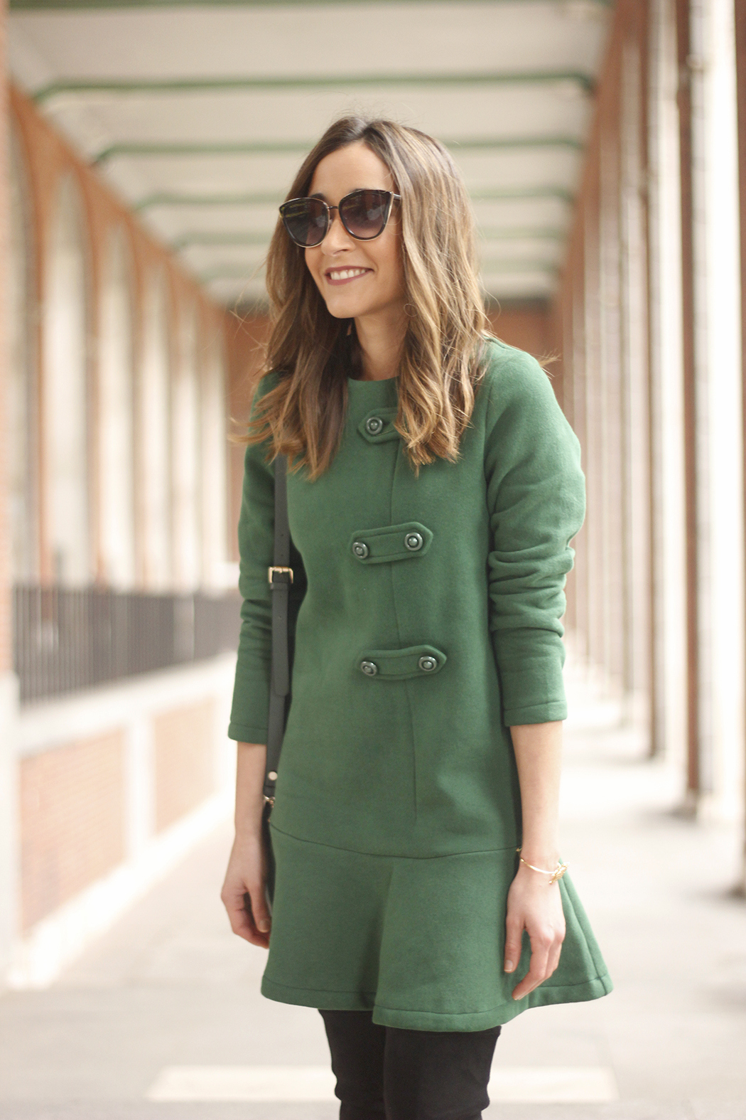 Green Dress Over the knee boots mango outfit sunnies accessories bag15