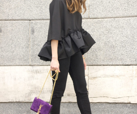 black top with a ruffle Carolina Herrera Sandals YSL bag accessories outfit style06