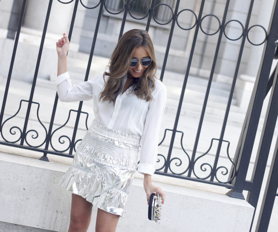 isabel-marant-metallic-skirt-white-shirt-nude-sandals-dior-so-real-sunnies-outfit-style-fashion19