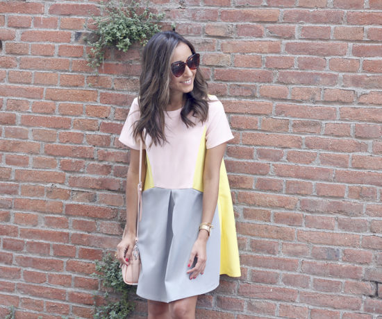 cute-little-pink-yellow-grey-dress-coach-bag-nude-heels-outfit-style11