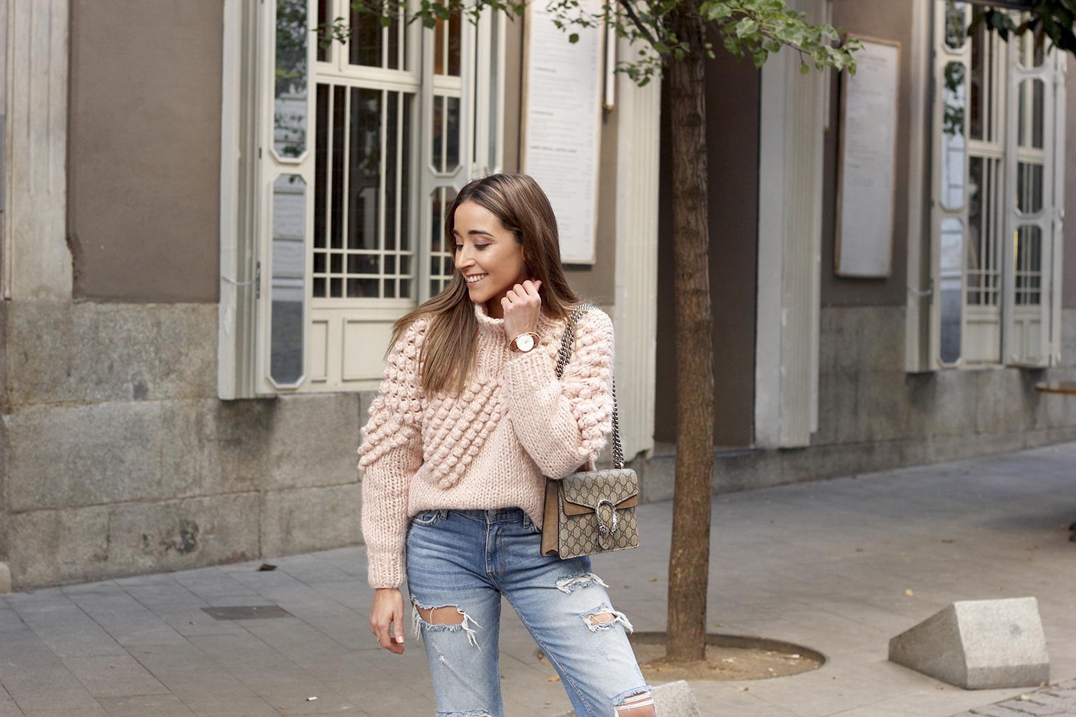 b80bbebc302 chunky pink sweater ripped jeans white fila sneakers gucci bag street style  fall outfit 20184553